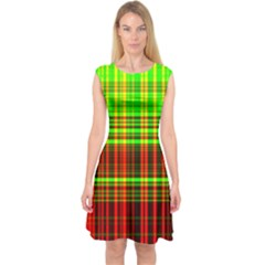 Line Light Neon Red Green Capsleeve Midi Dress by Mariart