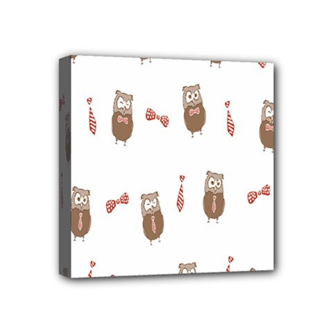 Insulated Owl Tie Bow Scattered Bird Mini Canvas 4  X 4
