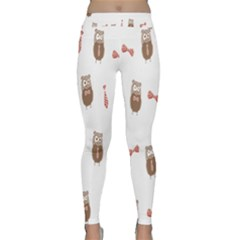 Insulated Owl Tie Bow Scattered Bird Classic Yoga Leggings by Mariart