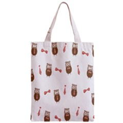 Insulated Owl Tie Bow Scattered Bird Zipper Classic Tote Bag by Mariart