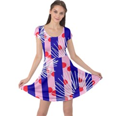 Line Vertical Polka Dots Circle Flower Blue Pink White Cap Sleeve Dresses by Mariart