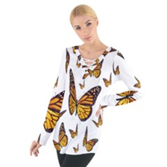 Butterfly Spoonflower Women s Tie Up Tee by Mariart