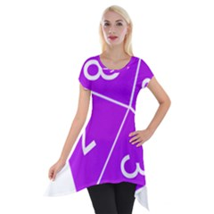 Number Purple Short Sleeve Side Drop Tunic by Mariart
