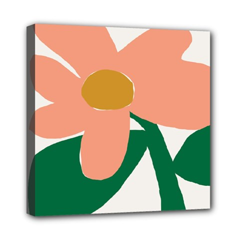 Peach Sunflower Flower Pink Green Mini Canvas 8  X 8  by Mariart