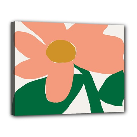 Peach Sunflower Flower Pink Green Canvas 14  X 11  by Mariart