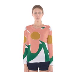 Peach Sunflower Flower Pink Green Women s Long Sleeve Tee by Mariart