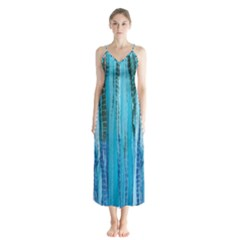 Line Tie Dye Green Kaleidoscope Opaque Color Button Up Chiffon Maxi Dress by Mariart