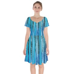 Line Tie Dye Green Kaleidoscope Opaque Color Short Sleeve Bardot Dress by Mariart