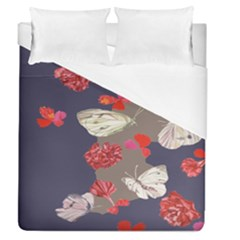 Original Butterfly Carnation Duvet Cover (queen Size) by Mariart