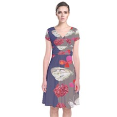 Original Butterfly Carnation Short Sleeve Front Wrap Dress
