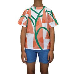 Portraits Plants Carrot Polka Dots Orange Green Kids  Short Sleeve Swimwear by Mariart