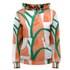 Portraits Plants Carrot Polka Dots Orange Green Women s Pullover Hoodie by Mariart
