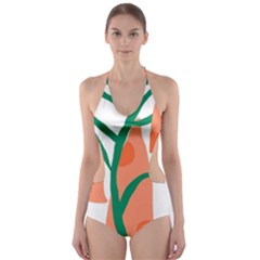 Portraits Plants Carrot Polka Dots Orange Green Cut Out One Piece Swimsuit by Mariart