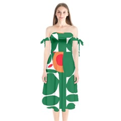 Portraits Plants Sunflower Green Orange Flower Shoulder Tie Bardot Midi Dress by Mariart