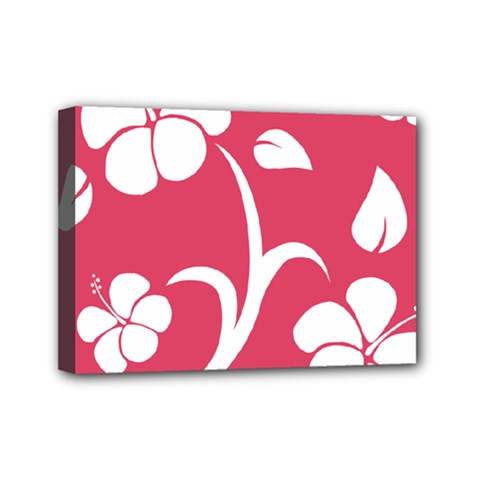 Pink Hawaiian Flower White Mini Canvas 7  X 5  by Mariart