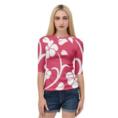Pink Hawaiian Flower White Quarter Sleeve Tee by Mariart