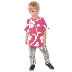 Pink Hawaiian Flower White Kids Raglan Tee by Mariart