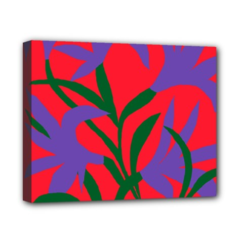 Purple Flower Red Background Canvas 10  X 8  by Mariart