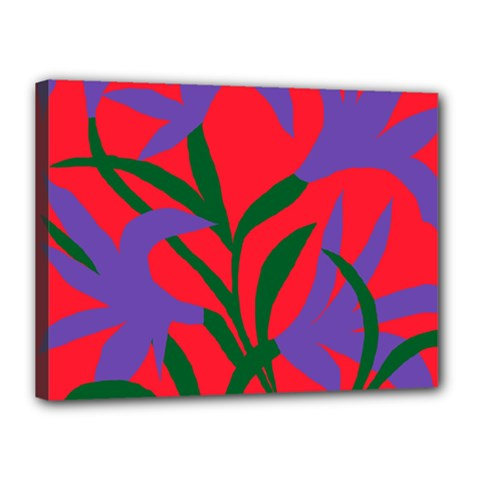 Purple Flower Red Background Canvas 16  X 12  by Mariart