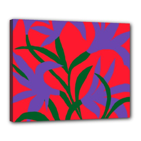 Purple Flower Red Background Canvas 20  X 16  by Mariart