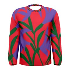 Purple Flower Red Background Men s Long Sleeve Tee
