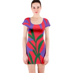 Purple Flower Red Background Short Sleeve Bodycon Dress