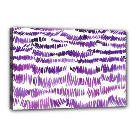 Original Feather Opaque Color Purple Canvas 18  X 12  by Mariart
