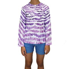 Original Feather Opaque Color Purple Kids  Long Sleeve Swimwear by Mariart