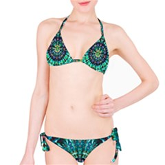 Peacock Throne Flower Green Tie Dye Kaleidoscope Opaque Color Bikini Set by Mariart