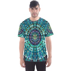 Peacock Throne Flower Green Tie Dye Kaleidoscope Opaque Color Men s Sports Mesh Tee by Mariart