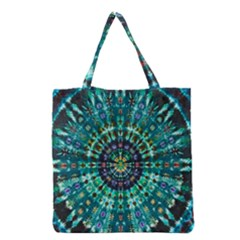 Peacock Throne Flower Green Tie Dye Kaleidoscope Opaque Color Grocery Tote Bag by Mariart