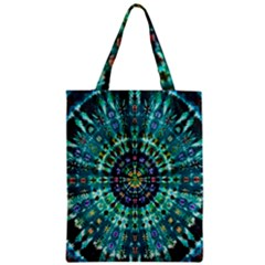 Peacock Throne Flower Green Tie Dye Kaleidoscope Opaque Color Zipper Classic Tote Bag by Mariart