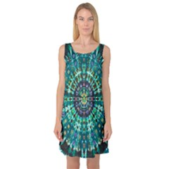 Peacock Throne Flower Green Tie Dye Kaleidoscope Opaque Color Sleeveless Satin Nightdress by Mariart