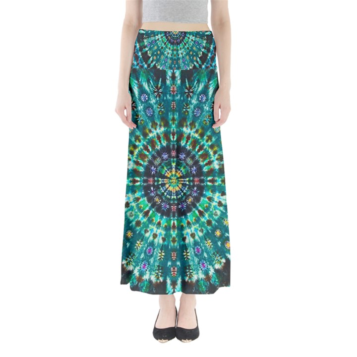 Peacock Throne Flower Green Tie Dye Kaleidoscope Opaque Color Full Length Maxi Skirt