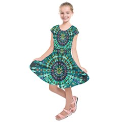 Peacock Throne Flower Green Tie Dye Kaleidoscope Opaque Color Kids  Short Sleeve Dress by Mariart