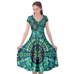 Peacock Throne Flower Green Tie Dye Kaleidoscope Opaque Color Cap Sleeve Wrap Front Dress by Mariart
