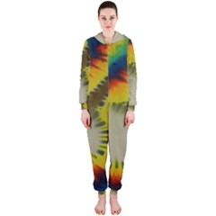 Red Blue Yellow Green Medium Rainbow Tie Dye Kaleidoscope Opaque Color Hooded Jumpsuit (ladies)