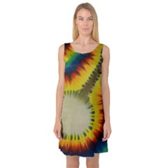 Red Blue Yellow Green Medium Rainbow Tie Dye Kaleidoscope Opaque Color Sleeveless Satin Nightdress