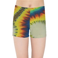Red Blue Yellow Green Medium Rainbow Tie Dye Kaleidoscope Opaque Color Kids Sports Shorts