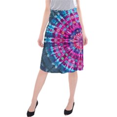 Red Blue Tie Dye Kaleidoscope Opaque Color Circle Midi Beach Skirt by Mariart