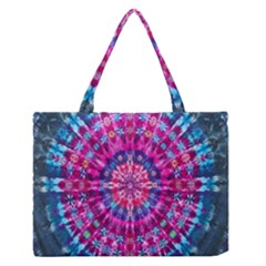 Red Blue Tie Dye Kaleidoscope Opaque Color Circle Medium Zipper Tote Bag by Mariart