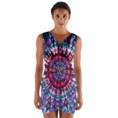 Red Purple Tie Dye Kaleidoscope Opaque Color Wrap Front Bodycon Dress