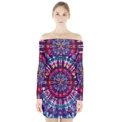 Red Purple Tie Dye Kaleidoscope Opaque Color Long Sleeve Off Shoulder Dress by Mariart