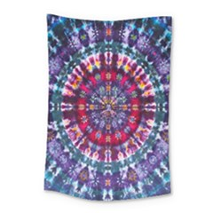 Red Purple Tie Dye Kaleidoscope Opaque Color Small Tapestry