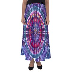 Red Purple Tie Dye Kaleidoscope Opaque Color Flared Maxi Skirt