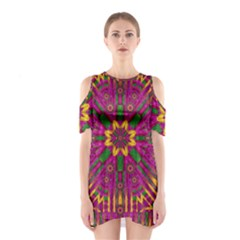 Feather Stars Mandala Pop Art Shoulder Cutout One Piece by pepitasart