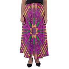 Feather Stars Mandala Pop Art Flared Maxi Skirt
