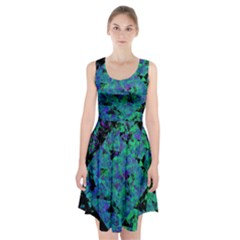 Blue And Green Tiles On Black Background Racerback Midi Dress
