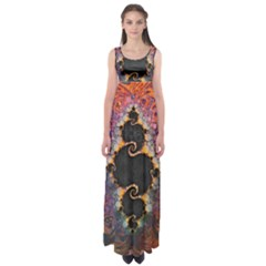 The Eye Of Julia, A Rainbow Fractal Paint Swirl Empire Waist Maxi Dress by jayaprime