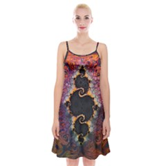 The Eye Of Julia, A Rainbow Fractal Paint Swirl Spaghetti Strap Velvet Dress by jayaprime